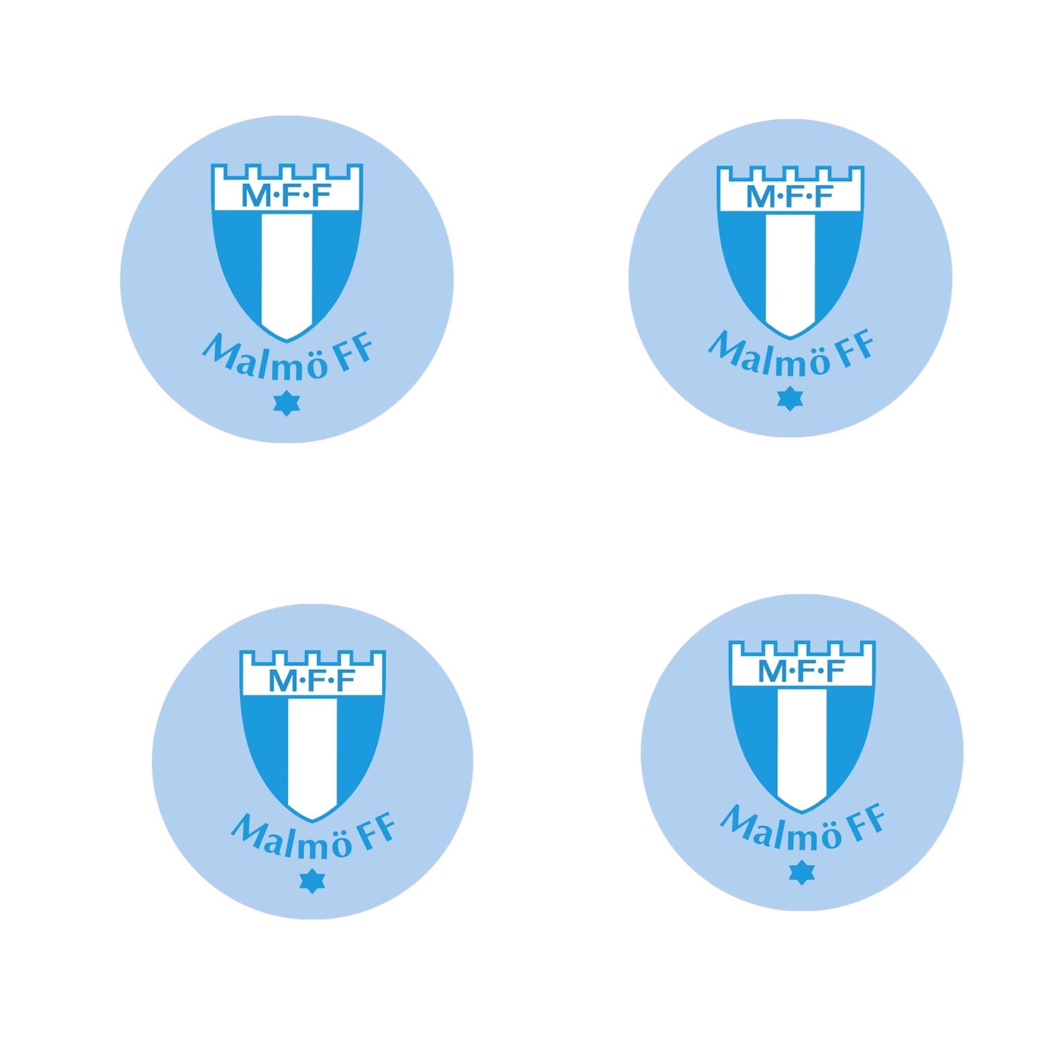 4-pack klistermärke ljusblå logo 6cm