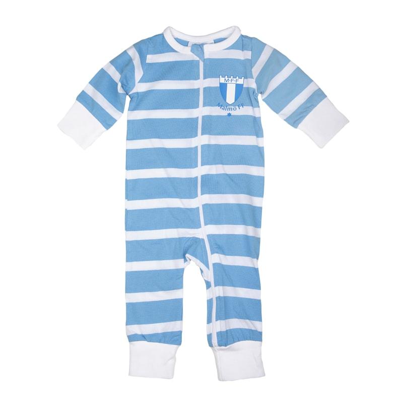 Pyjamas hel randig ljusblå/vit