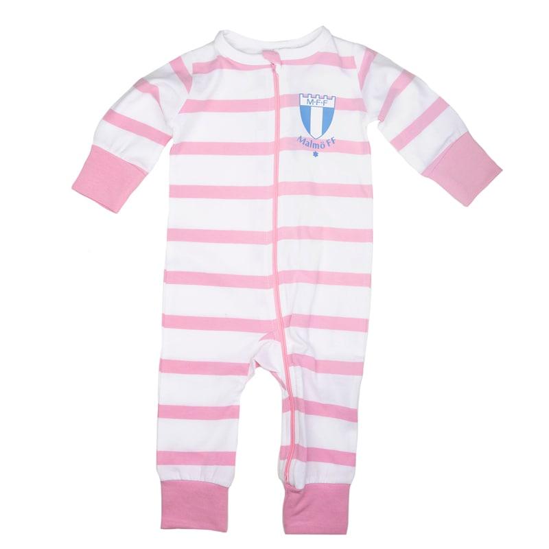 Pyjamas hel randig rosa/vit