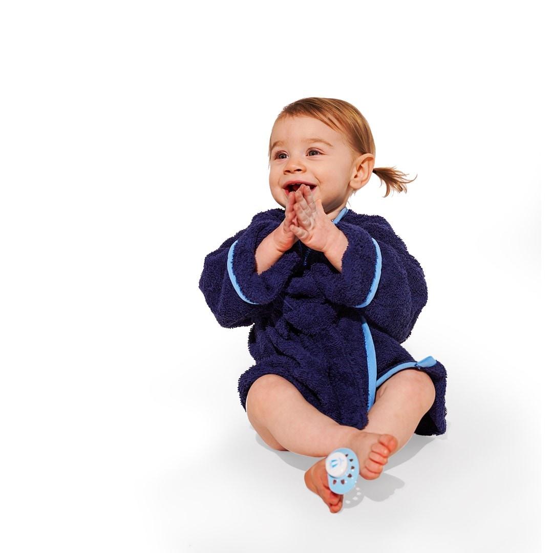 Morgonrock baby marinblå