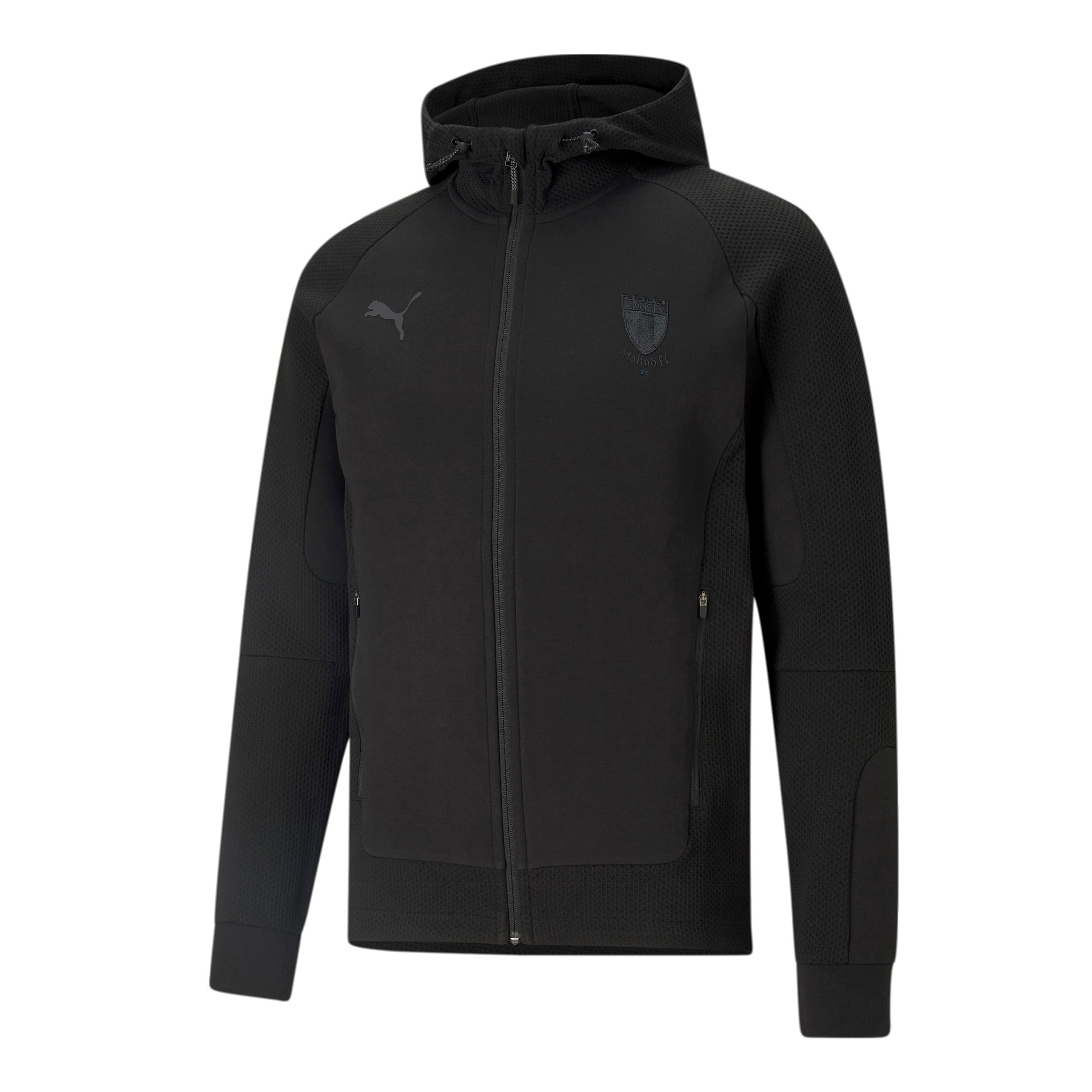 Puma teamcup ziphood svart logo ton i ton