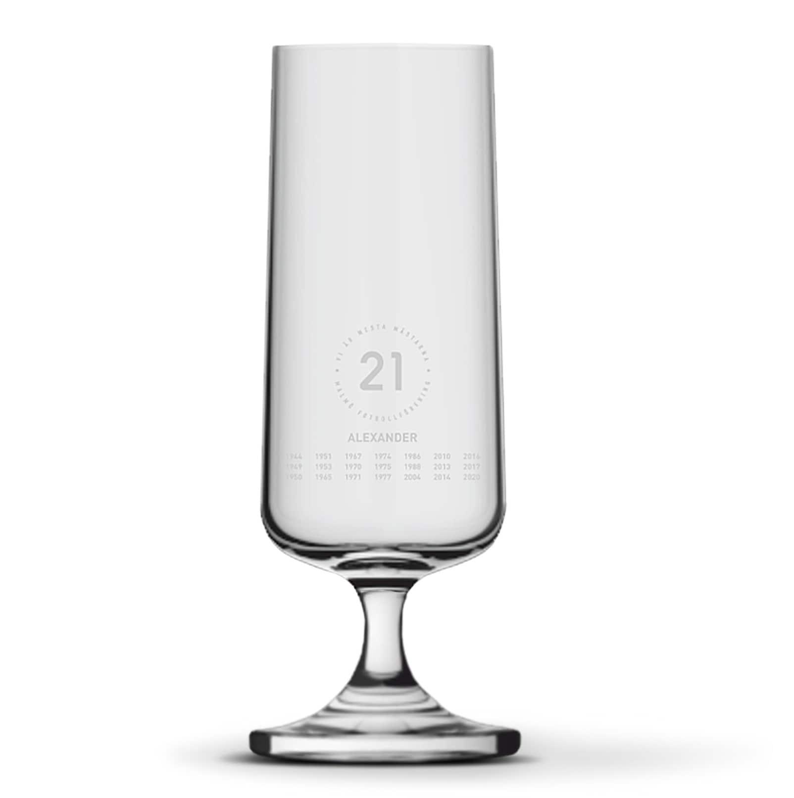 Ölglas 21 på fot eget namn