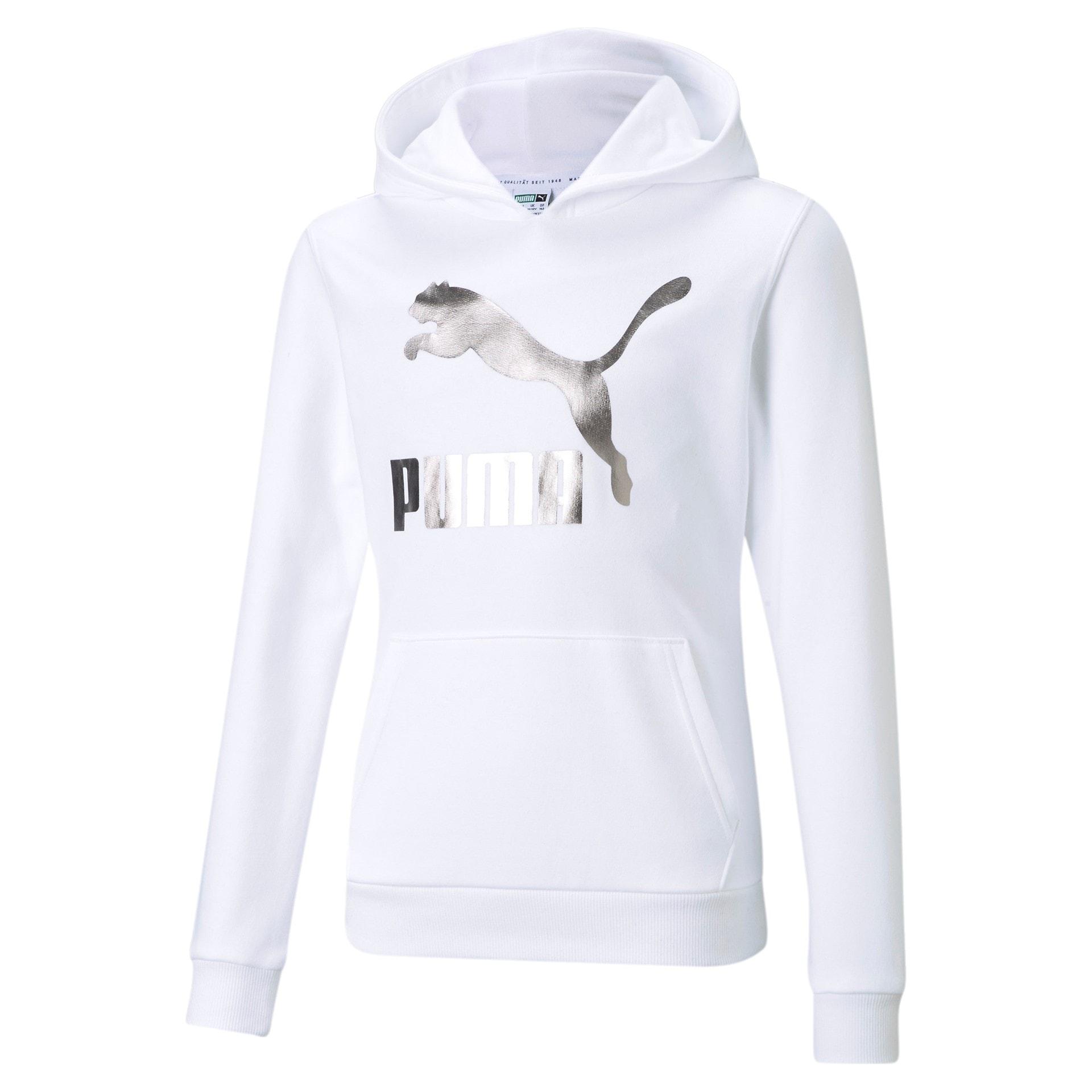 Puma barn logo hoodie vit