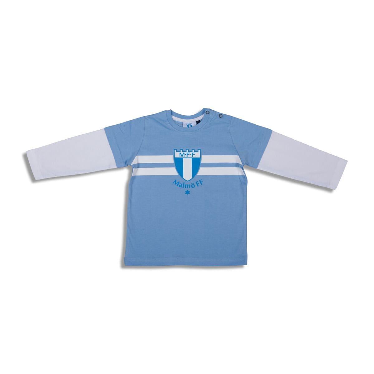 T-shirt lång ärm ljusblå/vit baby
